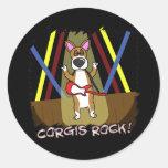 Rock On Pembroke Welsh Corgi Round Stickers