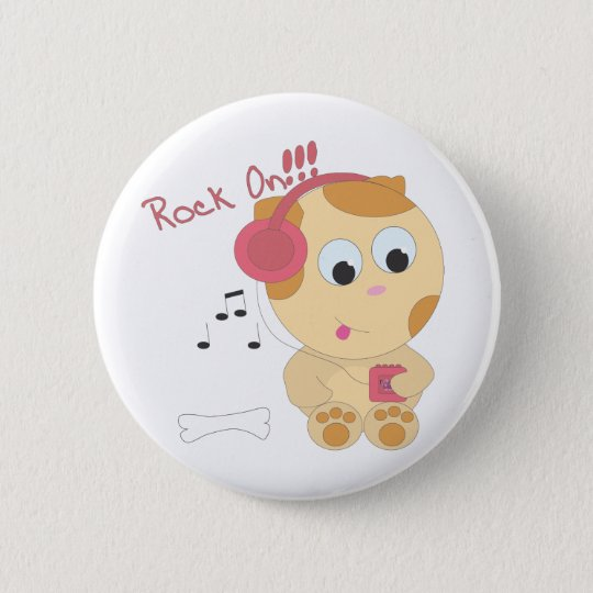 Rock on pup 6 cm round badge