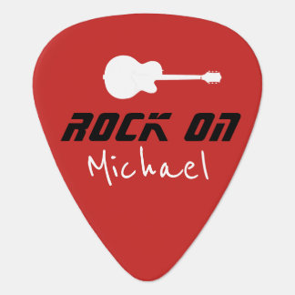 rock on . red guitar pick