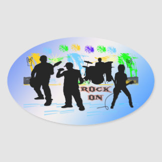 Rock On - Rock n' Roll Band Oval Sticker