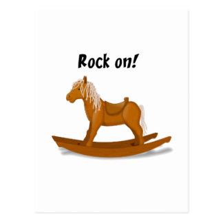 Rock On Rocking Horse Illustration Postcard