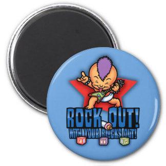 Rock Out Blocks Out Fridge Magnet
