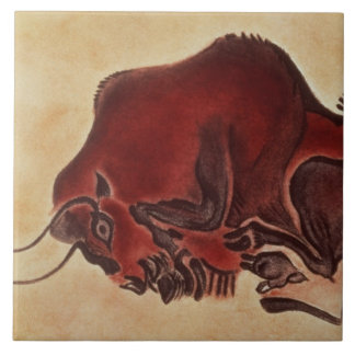 Rock painting of a bison, late Magdalenian Tile