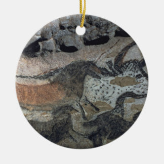 Rock painting of a bull and horses, c.17000 BC (ca Christmas Ornament