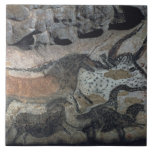 Rock painting of a bull and horses, c.17000 BC (ca Tile