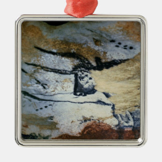 Rock painting of a bull with long horns christmas ornament