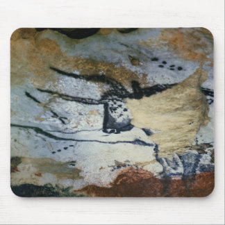 Rock painting of a bull with long horns mouse mat
