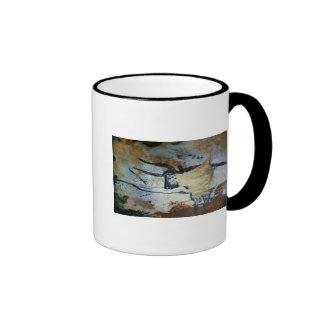 Rock painting of a bull with long horns ringer coffee mug