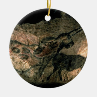 Rock painting of a horned animal, c.17000 BC (cave Christmas Ornament