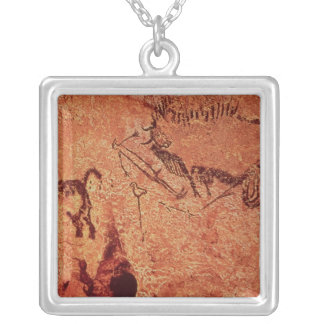 Rock painting of a hunting scene, c.17000 BC Silver Plated Necklace
