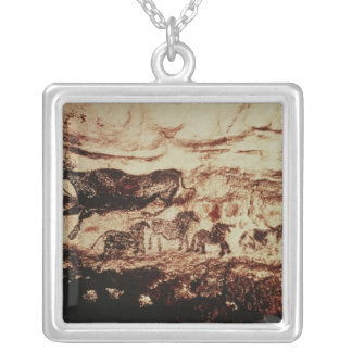 Rock painting of a leaping cow silver plated necklace
