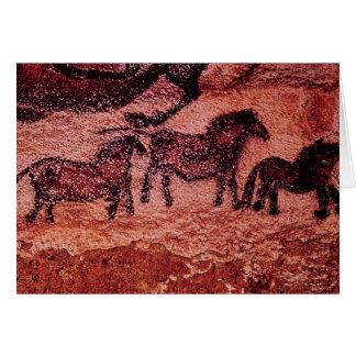 Rock painting of tarpans , c.17000 BC Greeting Card