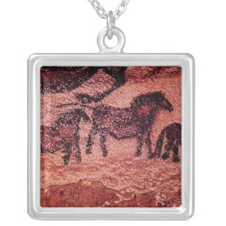 Rock painting of tarpans , c.17000 BC Silver Plated Necklace
