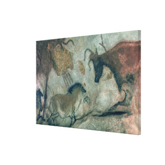 Rock painting showing a horse and a cow, c.17000 B Canvas Print