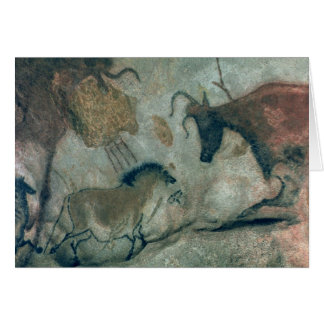 Rock painting showing a horse and a cow, c.17000 B Greeting Card