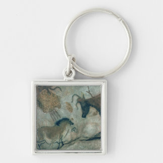 Rock painting showing a horse and a cow, c.17000 B Silver-Colored Square Key Ring