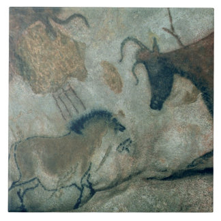 Rock painting showing a horse and a cow, c.17000 B Tile