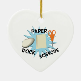Rock Paper Scissors Ceramic Heart Decoration