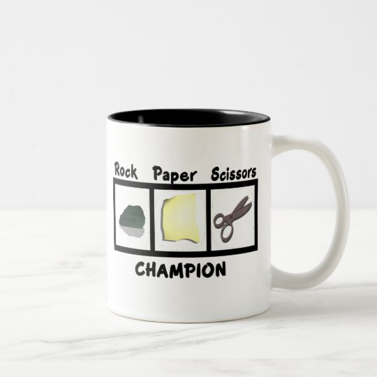 Rock Paper Scissors Champion Two-Tone Coffee Mug
