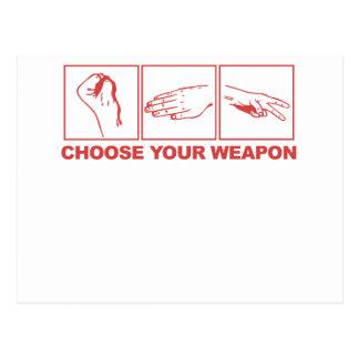 Rock Paper Scissors Choose Your Weapon Post Card