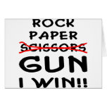 Rock Paper Scissors Gun I Win Greeting Card