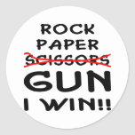Rock Paper Scissors Gun I Win Round Sticker