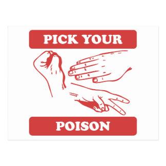 Rock Paper Scissors Pick Your Poison Post Card