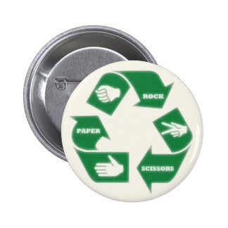 Rock Paper Scissors Recycle Pin Button