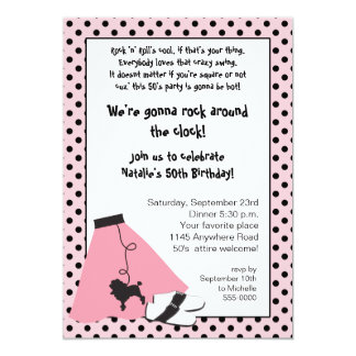 Rock & Roll 50's Birthday Invitation