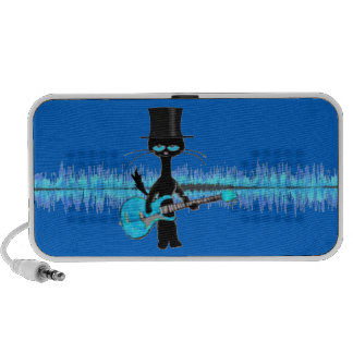 Rock Roll Cat Plays His Blue Guitar Portable Speakers