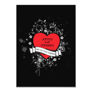 Rock & Roll Grungy Heart Music Themed Wedding Card