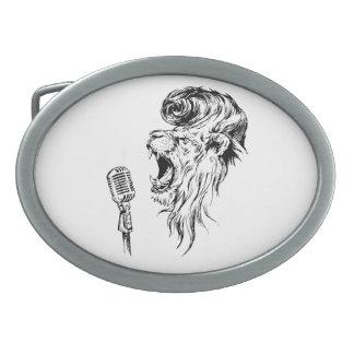Rock&roll lion oval belt buckles