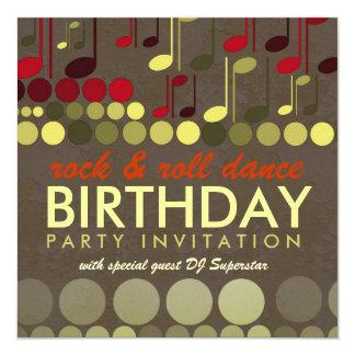 "Rock & Roll Music Birthday Party Invitation 5.25"" Square Invitation Card"
