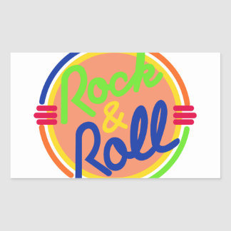 Rock & Roll Rectangular Sticker