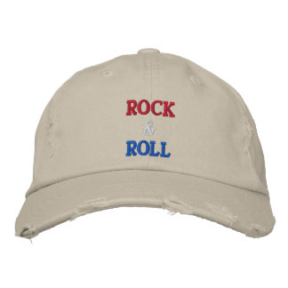ROCK ROLL -- RED WHITE BLUE - Customized Embroidered Baseball Caps