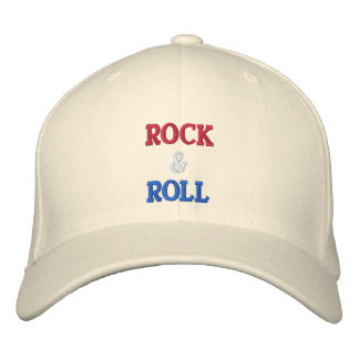 ROCK ROLL -- RED WHITE BLUE EMBROIDERED HATS