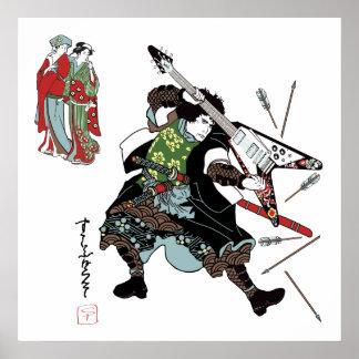 Rock Samurai Guitar Print