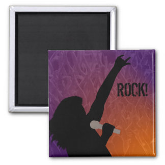 Rock Singer's silhouette With a Crowd Fridge Magnet