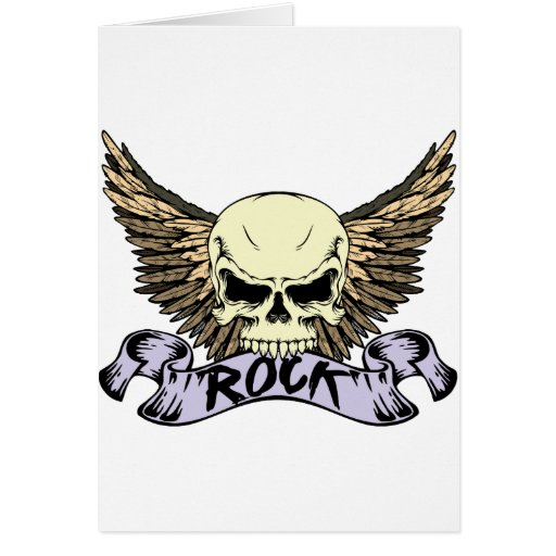 Rock Skull with Wings Card