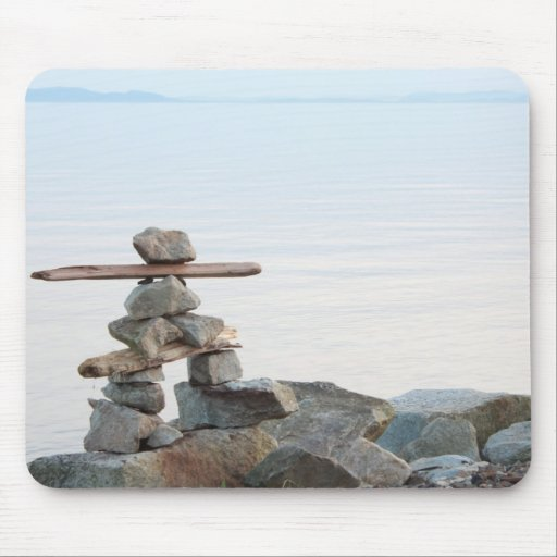 Rock stacking art by the beach. photo by Hao zhang Mousepad