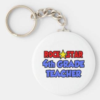 Rock Star 4th Grade Teacher Keychain