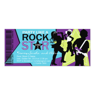 Rock Star Band Birthday Purple Lime 10 Cm X 24 Cm Invitation Card