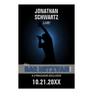 Rock Star Bar Mitzvah Poster in Black/Silver/Blue