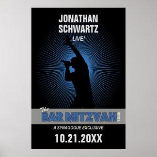 Rock Star Bar Mitzvah Poster in Black/Silver/Blue