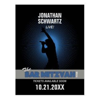 Rock Star Bar Mitzvah Save the Date, Blck/Silv/Blu Postcard