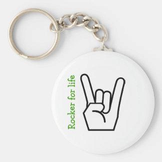 Rock Star Basic Round Button Key Ring