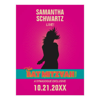 Rock Star Bat Mitzvah Poster in Hot Pink