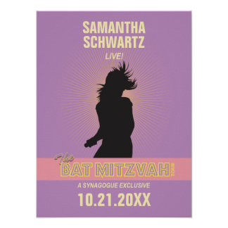 Rock Star Bat Mitzvah Poster-Purple Pink