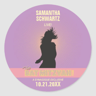 Rock Star Bat Mitzvah Sticker-Purple Pink Classic Round Sticker