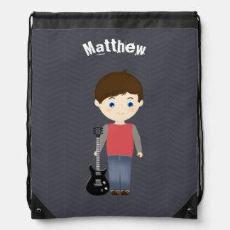 Rock Star Birthday Boy Drawstring Bag
